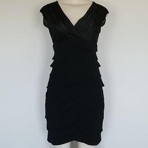 Adrianna Papell black tiered dress-4P